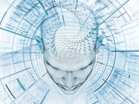 3D Rendering - Mind Field series. Backdrop design of head of wire mesh human model and fractal patters for works on artificial intelligence, science and technology