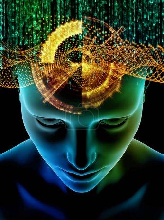 Photo pour Série Homme et Nombres. Conception abstraite faite de tête humaine et de chiffres sur le sujet de la science, de la technologie de l'information et de l'éducation - image libre de droit