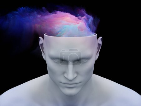Mind Fog. 3D illustration of human head with colorful fractal clouds for subjects on art, psychology, creativity, imagination and dreams.