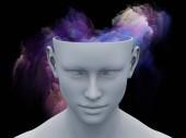 Brouillard de l'esprit. 3D illustration d'une tête humaine avec des nuages de fractale colorées pour les sujets sur l'art, psychologie, créativité, imagination et les rêves