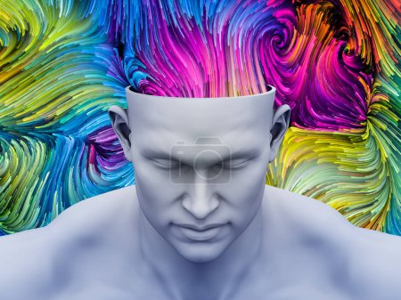 Color Thinking. 3D illustration of human head with color motion trails for subjects on art, psychology, creativity, imagination and dreams.