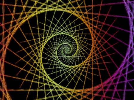 Spiralgeometrie-Serie. Hintergrunddesign des sich drehenden Wirbels fraktaler Elemente zum Thema Mathematik, Geometrie und Naturwissenschaften