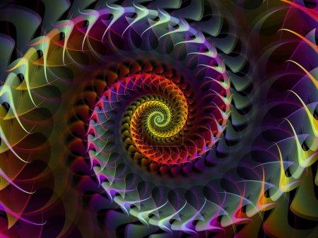 Photo pour Série Géométrie spirale. Composition du tourbillon de rotation des éléments fractaux approprié comme toile de fond pour les projets sur les mathématiques, la géométrie et la science - image libre de droit