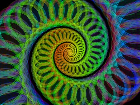 Spiral Geometry series. Abstract background made of spinning vortex of fractal elements for use with projects on mathematics, geometry and science