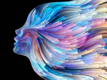Foto de Serie Cara de Color. Composición del perfil humano y líneas coloridas de pintura en movimiento con relación metafórica a la creatividad, el diseño, el mundo interno, la naturaleza humana y el alma artística - Imagen libre de derechos