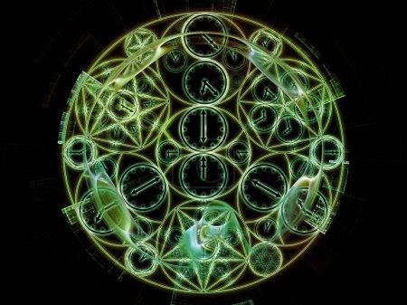Photo pour Série Time Connection. Conception abstraite faite de symboles de géométrie du temps et fractale sur le sujet du passé, du futur, du voyage dans le temps et de la science moderne - image libre de droit