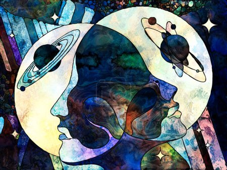Stained Glass Forever series. Male and female heads looking into each other, with colorful patterns and symbols of the Universe on the subject of science, internal reality and unity of life.