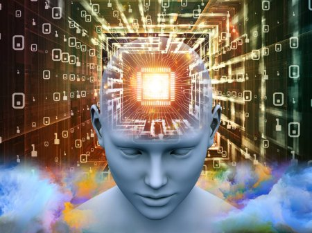 Mind Processor series. 3D illustration of  Human head with CPU in perspective for projects on  artificial intelligence, mind, mass media and modern technology