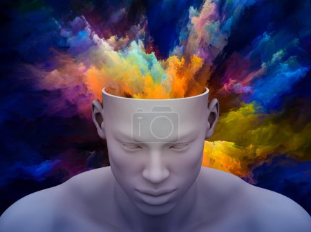 Photo for Mind Fog. 3D illustration of human head with colorful fractal clouds for subjects on art, psychology, creativity, imagination and dreams. - Royalty Free Image