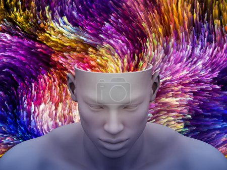 Brain Waves. 3D illustration of human head with color motion trails for subjects on art, psychology, creativity, imagination and dreams.