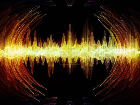 Photo pour Série Wave Function. Conception de toile de fond de vibrations sinusoïdales colorées, d'éléments lumineux et fractaux pour des illustrations sur l'égaliseur sonore, le spectre musical et la probabilité quantique - image libre de droit