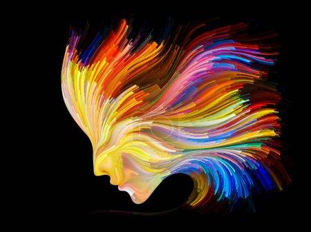 Foto de Serie Cara de Color. Arreglo del perfil humano y líneas coloridas de pintura en movimiento sobre el tema de la creatividad, el diseño, el mundo interno, la naturaleza humana y el alma artística - Imagen libre de derechos