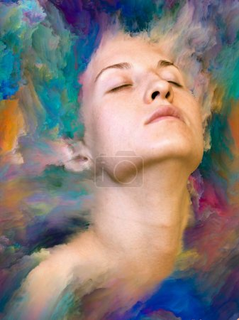 Her World series. Background design of female portrait fused with vibrant paint on the subject of feelings, emotions, inner world, creativity and imagination