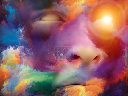Surreal background of human face fused with colorful paint on the subject imagination, inspiration, creativity and inner world.  Custom background series.