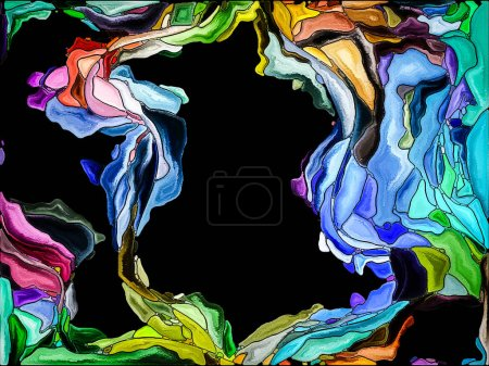Color Fragmentation series. Background design of  vivid painted shapes in dynamic motion on the subject of creativity, spirituality and art