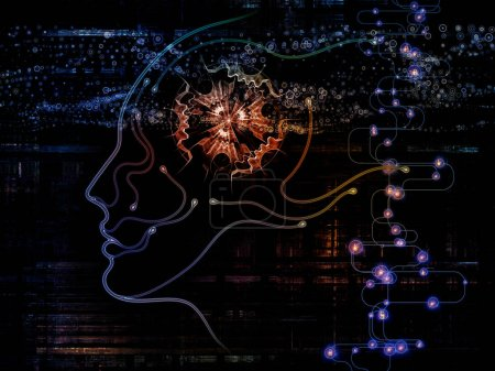 Digital Mind series. Background composition of  silhouette of human face and technology symbols on the subject of computer science, artificial intelligence and communications