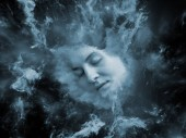 Will Universe Remember Me series. Composition of human face and fractal smoke nebula with metaphorical relationship to human mind, imagination, memory and dreams