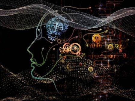 Foto de Serie de mente digital. Arreglo de silueta humana cara símbolos de y tecnología en materia de Ciencias de la computación, inteligencia artificial y las comunicaciones - Imagen libre de derechos