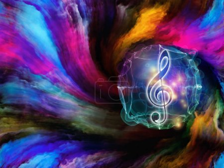 Colorful vortex with glowing musical symbol for song and sound realated projects