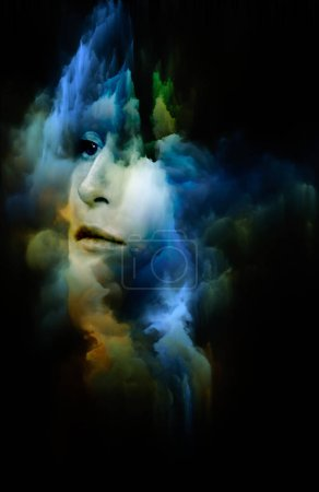 Nebula of You series. Arrangement of female portrait and space nebula on the subject of perception, imagination, inner world and human mind
