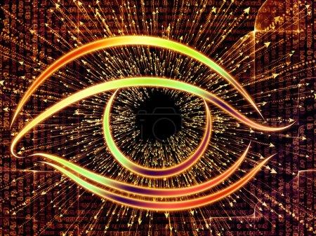 Photo pour Série Eye of Knowledge. Fond visuellement attrayant fait de l'icône de l'oeil et la flèche éclate adapté dans les mises en page sur la science, l'éducation et la technologie moderne - image libre de droit