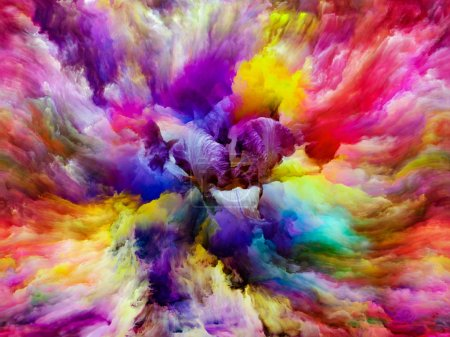 Flower petals fused with forms and paints of colorful canvas on the subject of Nature, Art, inspiration and creativity. Custom Background series.