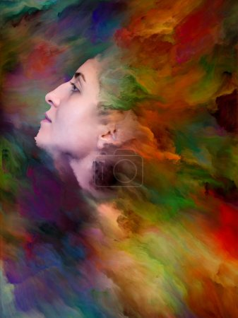 Woman's World series. Composition of female portrait fused with vibrant paint on the subject of feelings, emotions, inner world, creativity and imagination