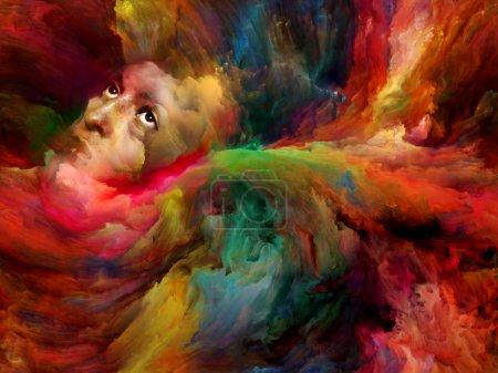 Photo pour Illustration d'un rêve aux couleurs riches et au visage féminin surréaliste . - image libre de droit