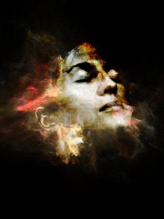 Photo pour Surreal Dust Portrait series. Design abstrait fait de fumée fractale et portrait féminin sur le thème de la spiritualité, de l'imagination et de l'art - image libre de droit