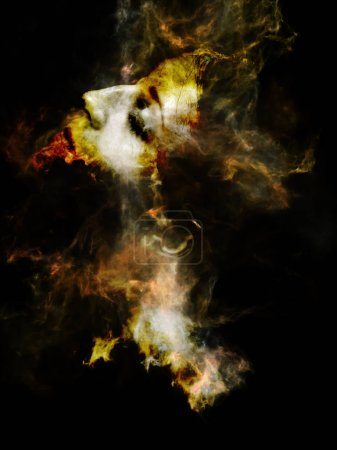 Surreal Dust Portrait series. Abstract design made of fractal smoke and female portrait on the subject of spirituality, imagination and art