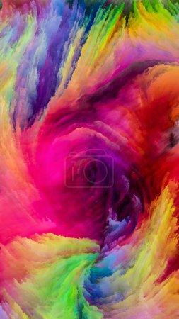 Color In Motion series. Artistic abstraction composed of Flowing Paint pattern on the subject design, creativity and imagination to use as wallpaper for screens and devices