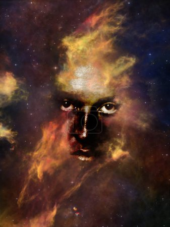 Will Universe Remember Us series. Composition of woman's face, nebula and stars suitable as a backdrop for the projects on Universe, Nature, human mind and imagination