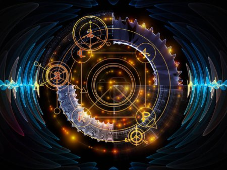 Photo for Astral Glow series. Background design of sacred geometry lines, astrology symbols and lights on the subject of spirituality, magic and mysticism - Royalty Free Image