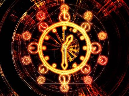 Photo pour Circles de séries chronologiques. Disposition des symboles d'horloge et des éléments fractaux sur le sujet de la science, de l'éducation et de la prédiction - image libre de droit
