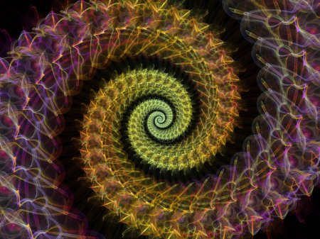 Spiral Geometry series. Design composed of spinning vortex of fractal elements as a metaphor on the subject of mathematics, geometry and science