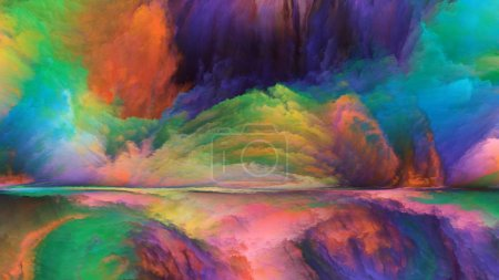 Out of This World series. Backdrop composed of surreal landscape elements and fractal colors and suitable for use in the projects on imagination, creativity and art