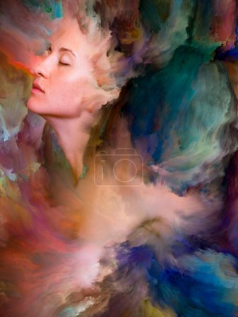Her World series. Composition of  female portrait fused with vibrant paint for projects on feelings, emotions, inner world, creativity and imagination