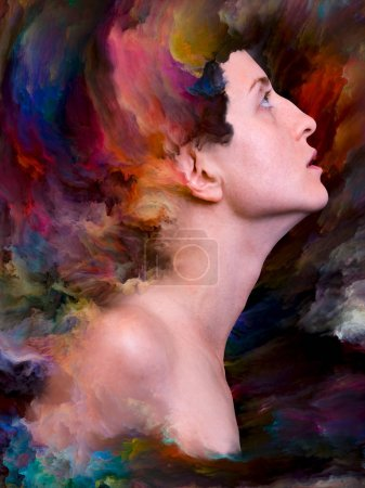 Her World series. Backdrop design of female portrait fused with vibrant paint for illustrations on feelings, emotions, inner world, creativity and imagination