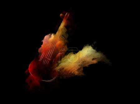 Music Dream series. Design made of violin and abstract colorful paint to serve as backdrop for projects related to musical instruments, melody, sound, performance arts and creativity