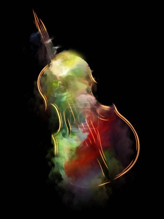 Music Dream series. Abstract background made of violin and abstract colorful paint for use with projects on musical instruments, melody, sound, performance arts and creativity