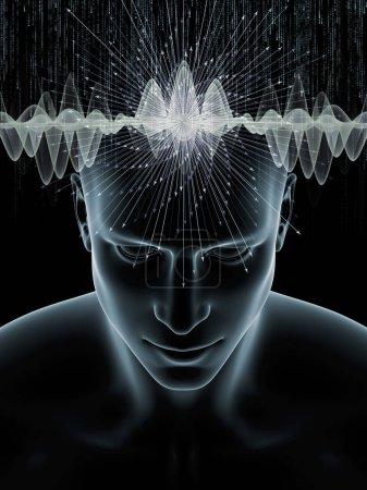 Photo pour Série Mind Waves. Fond visuellement attrayant fait d'illustration 3D de la tête humaine et des symboles technologiques appropriés dans les mises en page sur la conscience, le cerveau, l'intelligence et l'intelligence artificielle - image libre de droit
