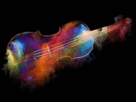 Photo pour Série de musique de rêve. Création de la toile de fond de violon et abstrait peinture colorée pour les travaux sur les instruments de musique, mélodie, son, arts du spectacle et de la créativité - image libre de droit