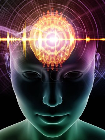 Photo for Mind Waves series. Composition of 3D illustration of human head and technology symbols suitable as a backdrop for the projects on consciousness, brain, intellect and artificial intelligence - Royalty Free Image