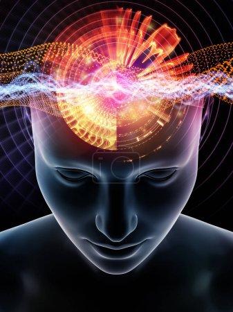 Photo pour Série Mind Waves. Fond de l'illustration 3D de la tête humaine et des symboles technologiques sur le sujet de la conscience, du cerveau, de l'intellect et de l'intelligence artificielle - image libre de droit