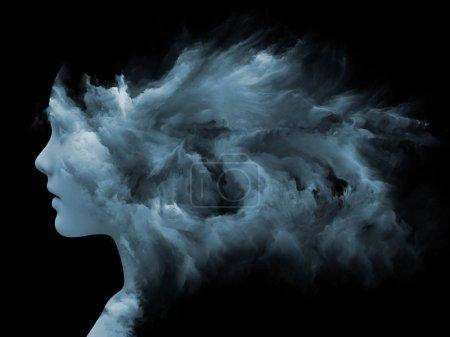 Photo pour Série Mind Fog. Design composé d'un visage humain façonné avec de la peinture fractale comme métaphore sur le monde intérieur, les rêves, les émotions, la créativité, l'imagination et l'esprit humain - image libre de droit