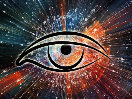 Photo pour Série Eye of Knowledge. Fond d'oeil icône et flèche éclatent sur le sujet de la science, l'éducation et la technologie moderne - image libre de droit