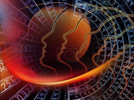 Photo pour Série Homme et Nombres. Contexte de profil humain symbolique et chiffres sur le thème de la science, de la technologie de l'information et de l'éducation - image libre de droit