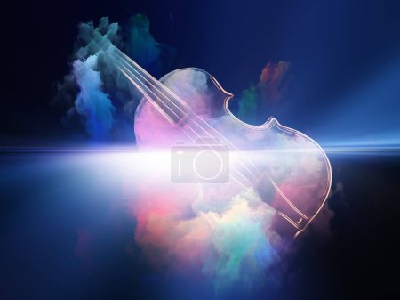 Photo for Music Dream series. Arrangement of violin and abstract colorful paint on the subject of musical instruments, melody, sound, performance arts and creativity - Royalty Free Image