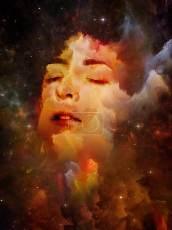 Photo for Will Universe Remember Us series. Creative arrangement of woman's face, nebula and stars as a concept metaphor on subject of Universe, Nature, human mind and imagination - Royalty Free Image