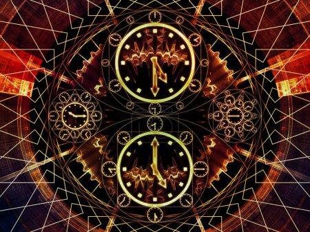 Photo pour Circles de séries chronologiques. Composition des symboles d'horloge et des éléments fractaux appropriés comme toile de fond pour les projets sur la science, l'éducation et la prédiction - image libre de droit
